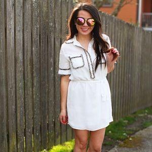 👗 White shirt dress with tweed trim!!